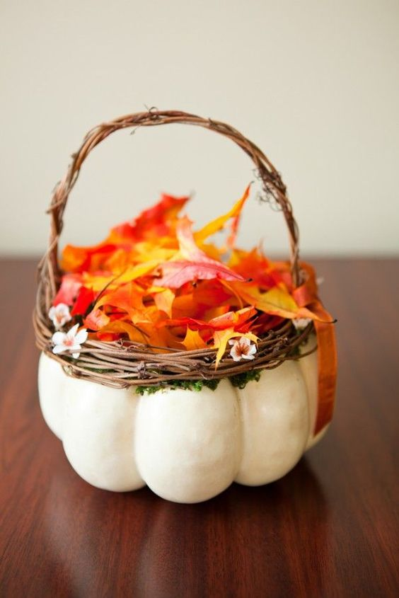 Flower Girl Basket | How to Incorporate Fall Leaves Into Your Wedding | My Wedding Favors