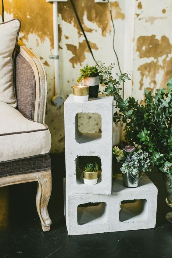 Industrial Wedding: Cinder Block Decorations