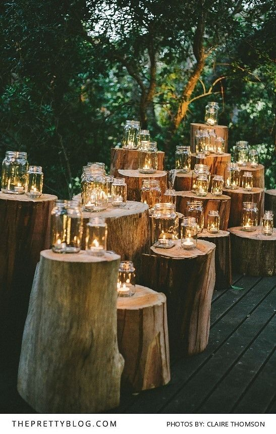 Candlelit Jars on Tree Stumps | Hot Tips for Planning an Autumn Wedding | My Wedding Favors