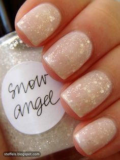 Snowflake Manicure Ideas: Sparkle Polish