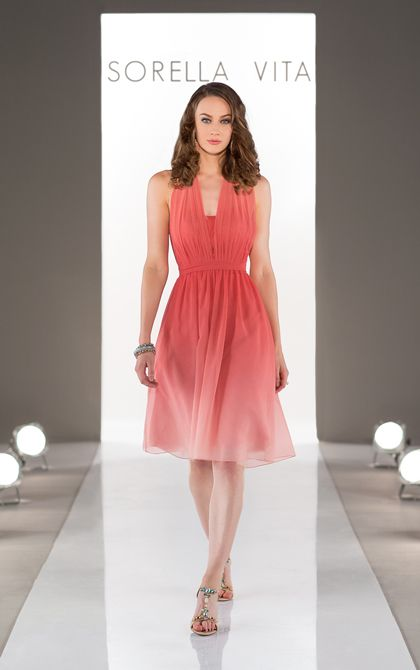 Bridesmaid Dresses: Living Coral Ombre
