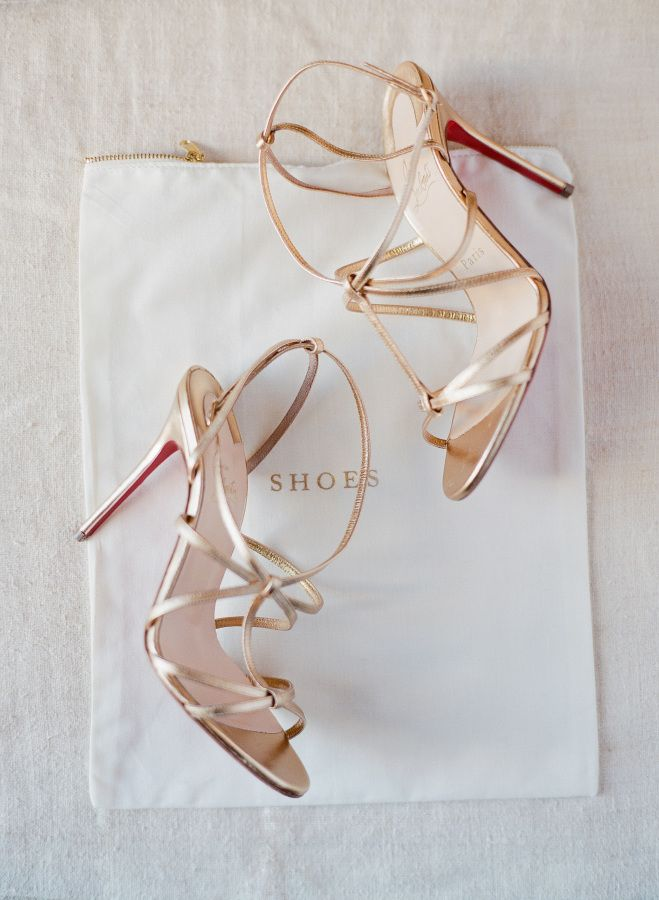Strappy Metallic Gold Louboutin Heels | Jose Villa via Style Me Pretty