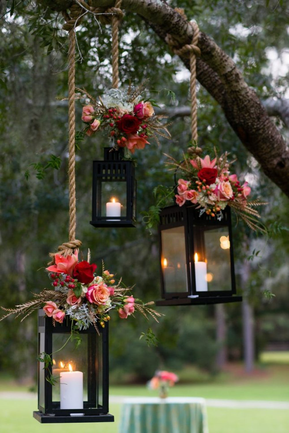 Ultra Floral Wedding: Hanging Lanterns