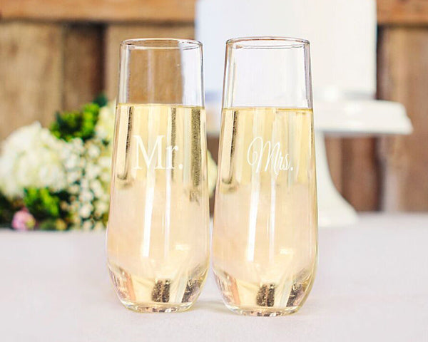 Mr. Mrs. Stemless Champagne Toasting Flutes | 6 Glassware Gifts for the Bride and Groom | My Wedding Favors