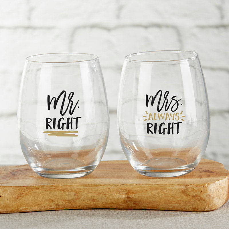Mr. Right Mrs. Right Stemless Wine Glass | 6 Glassware Gifts for the Bride and Groom | My Wedding Favors