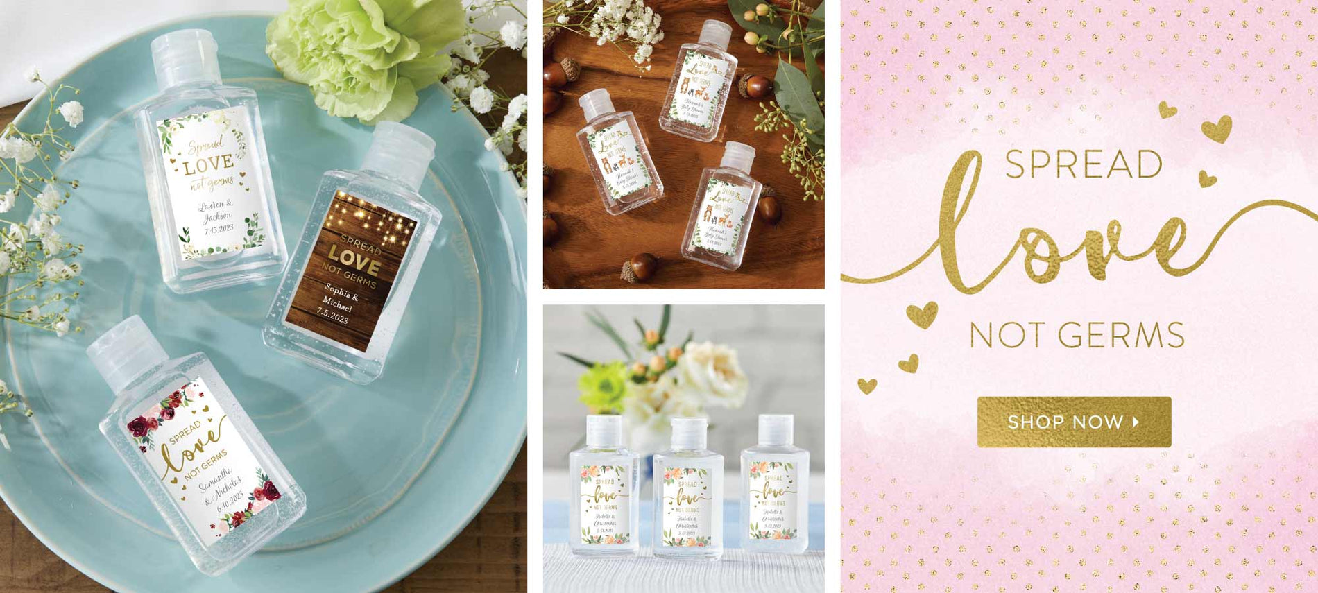 Personalized 2 oz. Hand Sanitizer for Bridal Showers, Dinner Party, Receptions & More! | Shop My Wedding Favors for Covid Friendly Favors & Accessories.