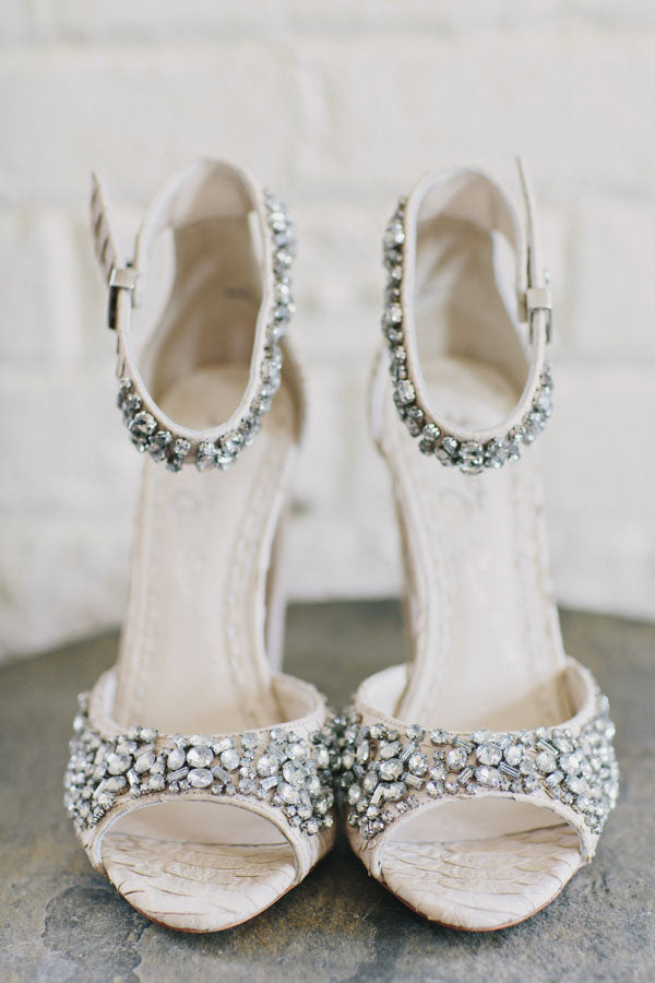 Alice and Olivia Jeweled Wedding Heels | Clean Plate Pictures via Ruffled
