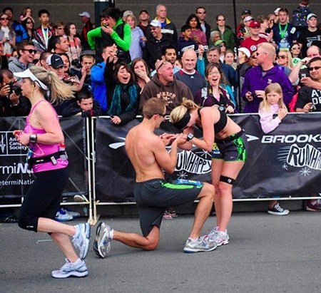 Wedding Proposal At a Race Finish Line | Wedding Proposal Ideas That You're Sure to Love | My Wedding Favors