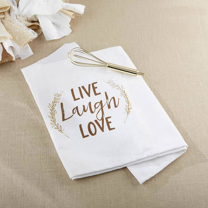 Live, Laugh, Love Whisk and Tea Towel | My Wedding Favors