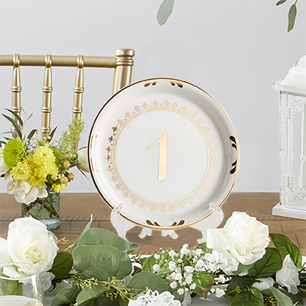 Tea Time Vintage Plate Table Numbers 13-18 Retro Chic Buffet Tables Number Sign Centerpiece Wedding Reception Event Birthday Bridal Party