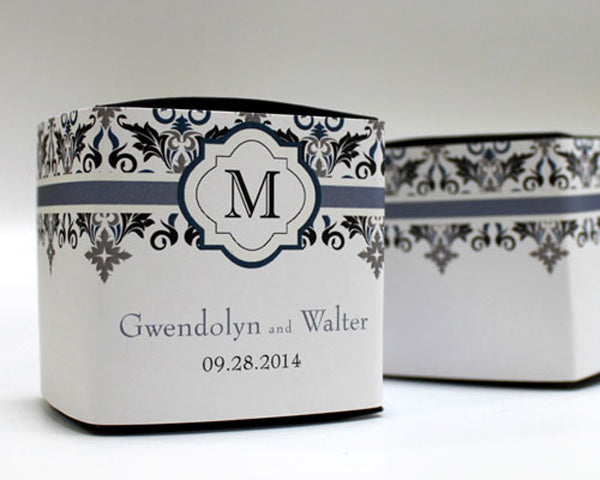 Lavish Monogram Cube Favor Box Wrap