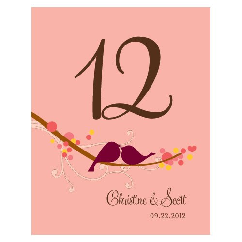 Love Bird Table Number - Set of 12 (Many Color Options Available)