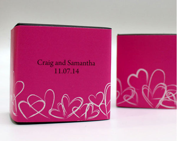 Contemporary Hearts Cube Favor Box Wrap (Many Designs Available)