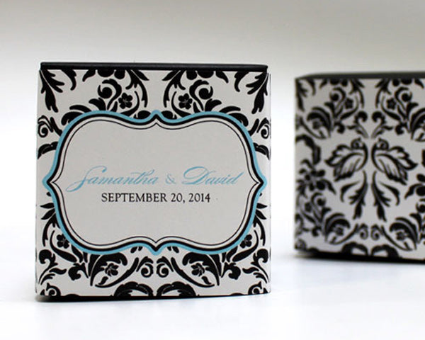 Love Bird Damask Cube Favor Box Wrap (Many Designs Available)