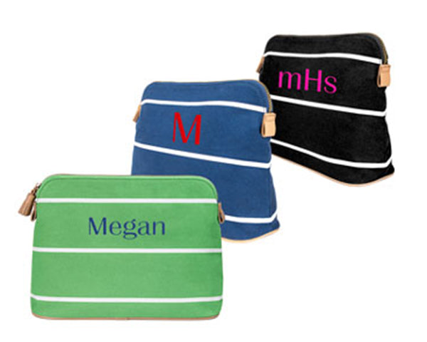 Personalized Striped Cosmetic Bag (Available In Multiple Colors)