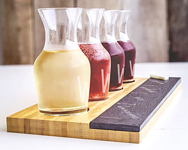 Personalized Bamboo & Slate Wine Tasting Flight