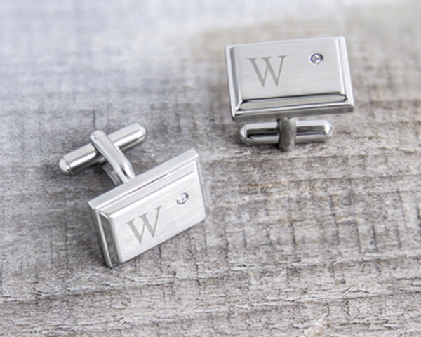 Personalized Ziron Jewel Stainless Steel Cuff Links|Groomsmen Gifts|My Wedding Favors
