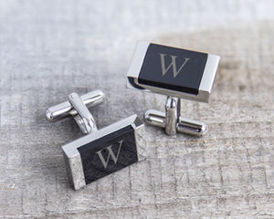 Load image into Gallery viewer, Personalized Faux Onyx Stainless Steel Cuff Links