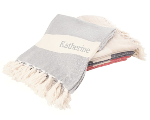 Personalized Turkish Throw Blanket (Available In Variety of Colors)