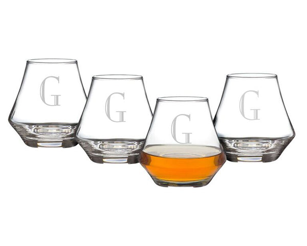 Personalized 9.75 oz Contemporary Whiskey Glasses (Set of 4)