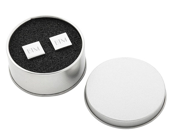 Personalized Silver Square Cuff Links