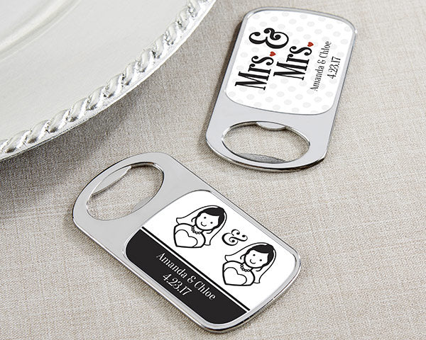 Personalized Mrs. & Mrs. Silver Bottle Opener