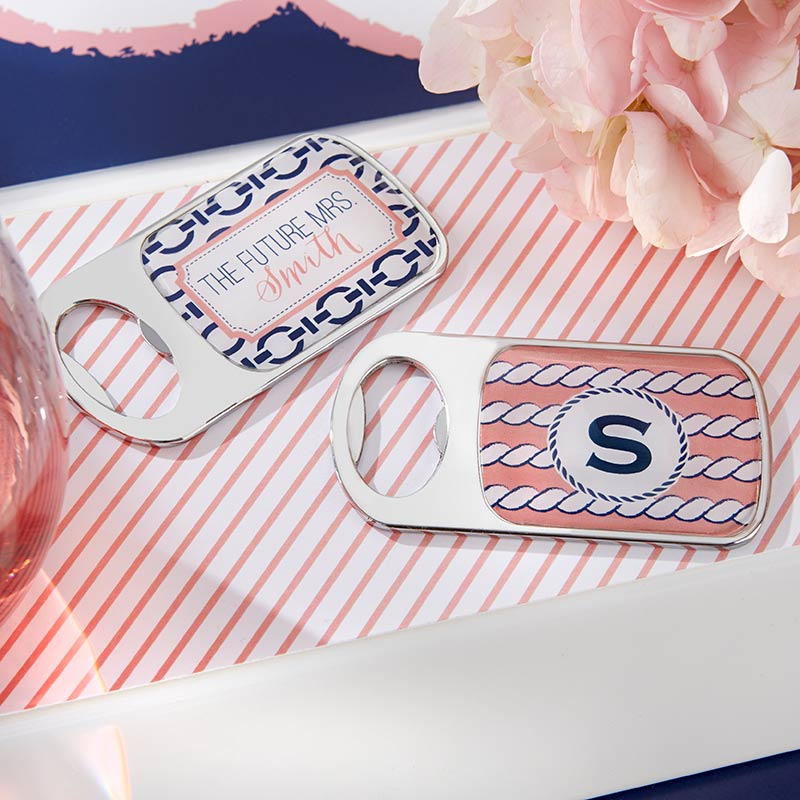 Personalized Nautical Bridal Shower Silver Bottle Opener