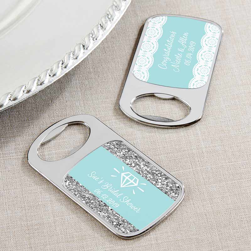 Personalized Something Blue Silver Bottle Opener
