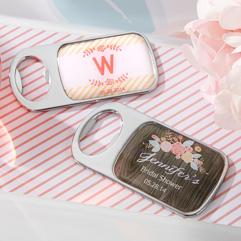 Personalized Rustic Bridal Shower Silver Bottle Opener