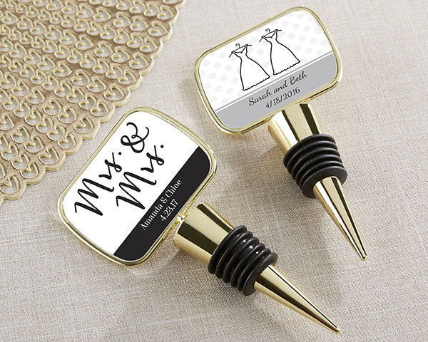 Personalized Mrs. & Mrs. Gold Bottle Stopper