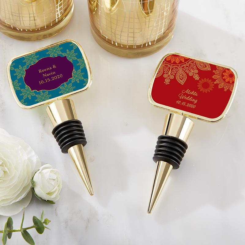Personalized Indian Jewel Gold Bottle Stopper