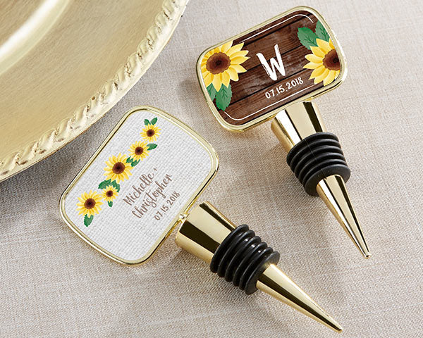 Personalized Sunflower Gold Bottle Stopper