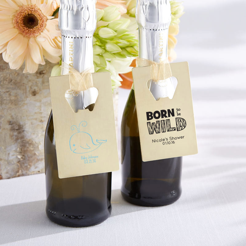 Personalized Gold Credit Card Bottle Opener – Baby Shower