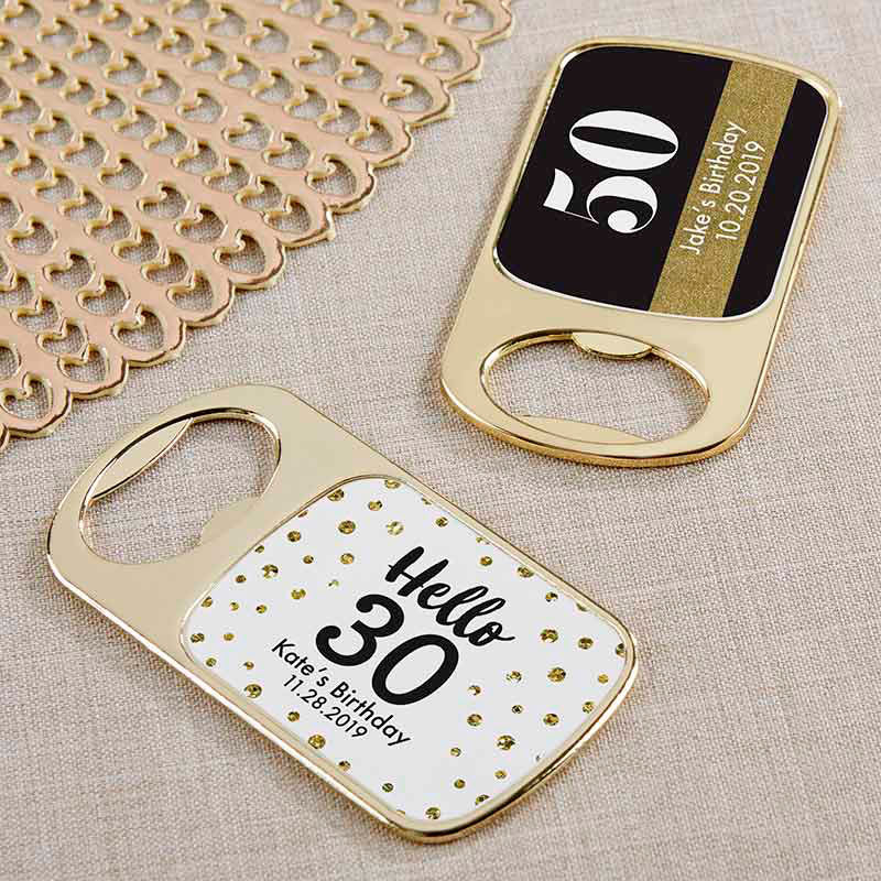 Personalized Milestone Birthday Gold Bottle Opener