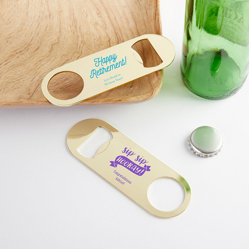Personalized Celebration Gold Oblong Bottle Opener