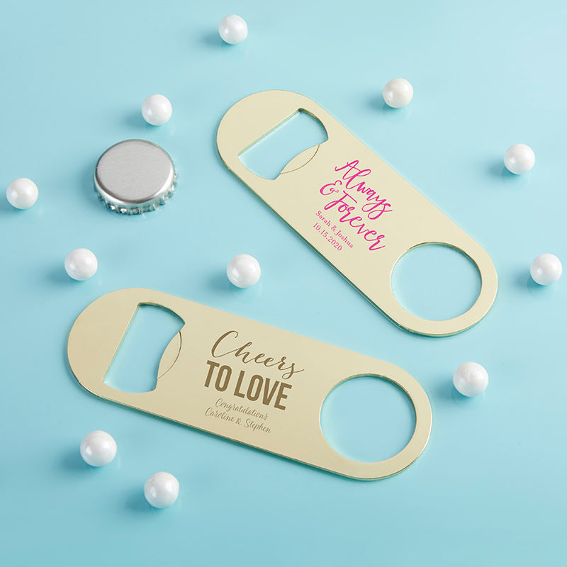 Personalized Wedding Gold Oblong Bottle Opener