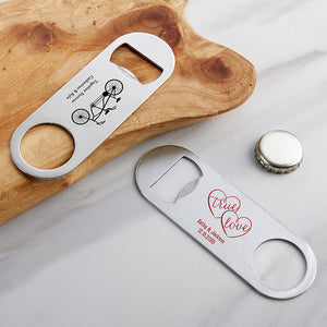 Load image into Gallery viewer, Personalized Wedding Silver Oblong Bottle Opener