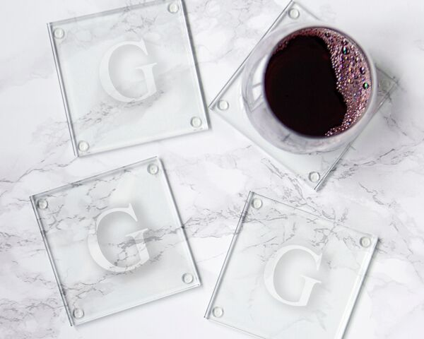 Initially Yours Personalized Glass Coasters