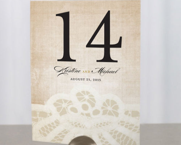 Vintage Lace Table Numbers (Set of 12)