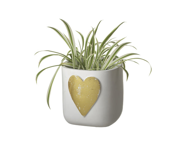 Small Cement Planter with Gold Heart Design | My Wedding Favors