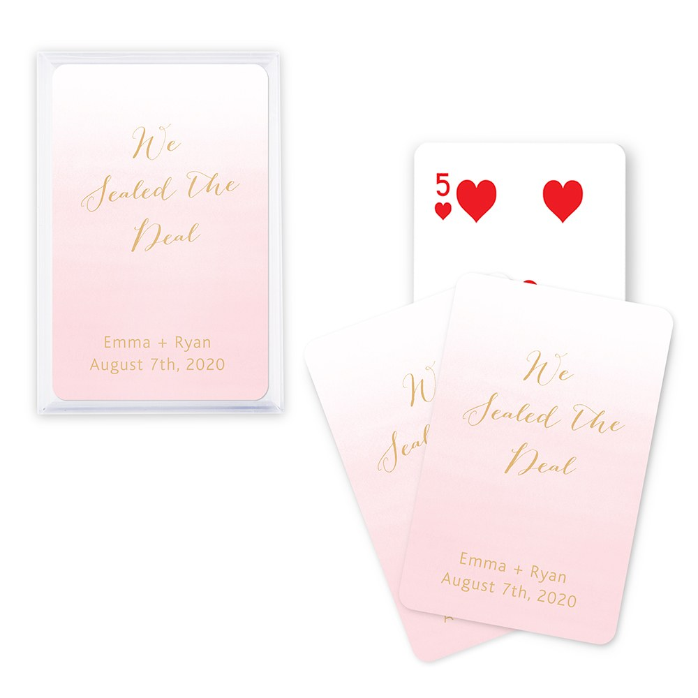 Personalized Ombre Playing Cards In Plastic Case (Many Colors Available)