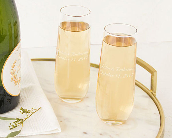 Personalized Stemless Champagne Toasting Flutes (Set of 2)