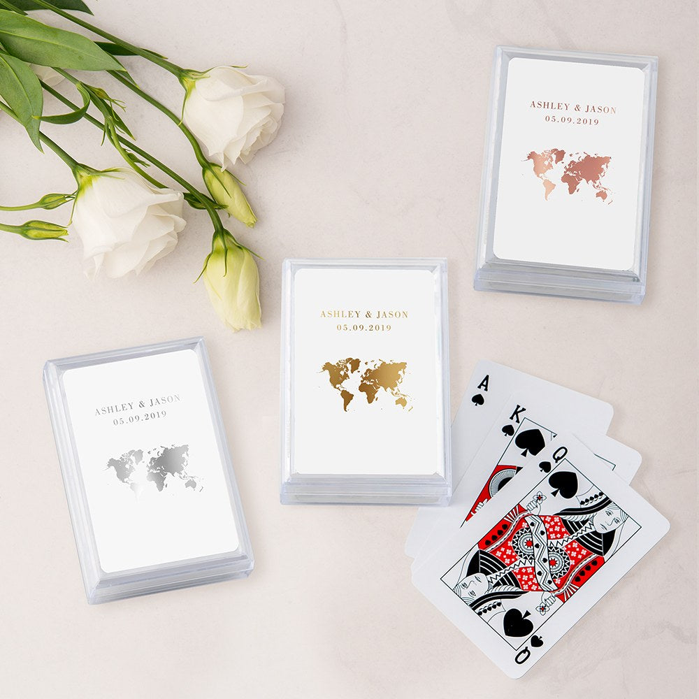 Personalized Travel & Adventure Playing Cards In Plastic Case