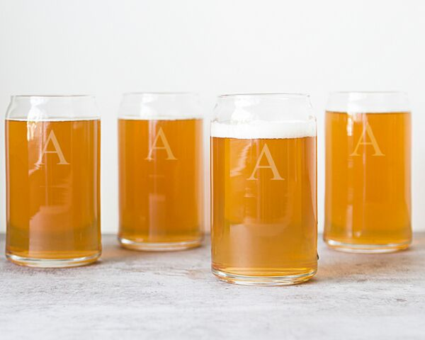 Personalized 16 oz. Craft Beer Can Glasses (Set of 4)