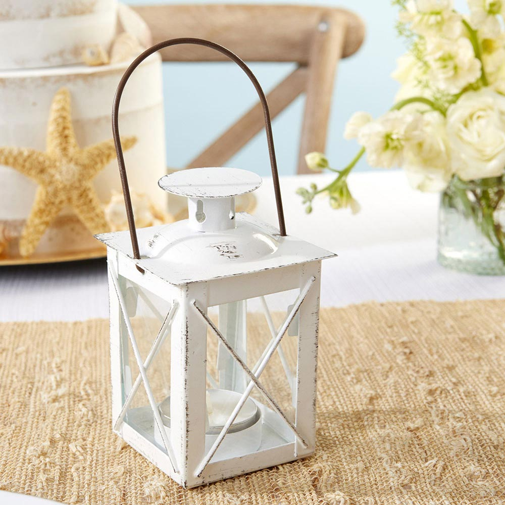 Luminous Distressed White Mini-Lantern Tea Light Holder