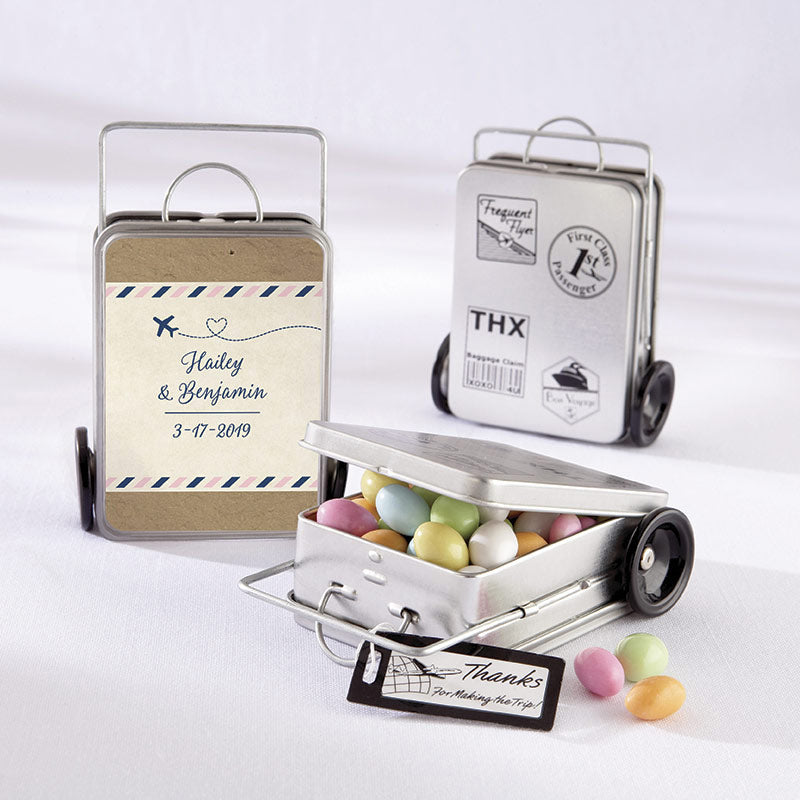 Personalized Travel & Adventure Suitcase Favor Tins (Set of 12)