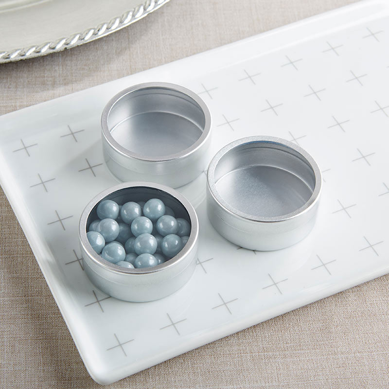 DIY Silver Round Candy Tin (Set of 12)