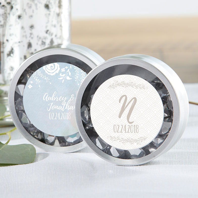 Personalized Ethereal Silver Round Candy Tin (Set of 12)