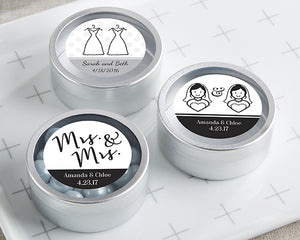 Personalized Mrs. & Mrs. Silver Round Candy Tin (Set of 12)