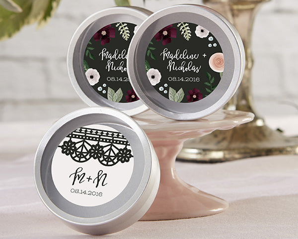 Personalized Romantic Garden Silver Round Candy Tin (Set of 12)
